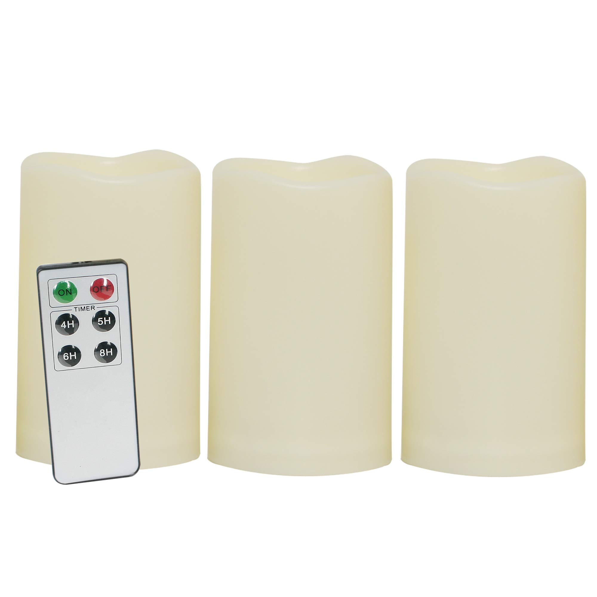 "Waterproof Outdoor Flameless LED Candles - with Remote and Timer Realistic Flickering Battery Operated Powered Electric Electronic Plastic Resin Pillar Candles by Qidea 3-Pack 3""x5"""