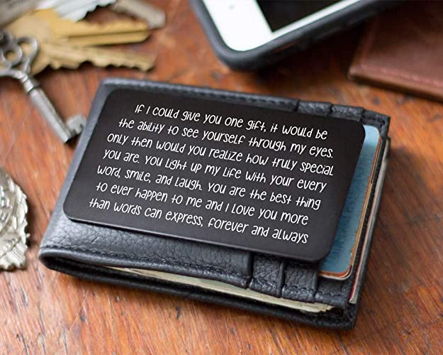 87b8956618ed0 Husband Anniversary Gift for Him - Engraved Wallet Inserts - Perfect  Birthday Gifts for Men! Metal Wallet Card Love Note, Anniversary Gifts for  Men, ...