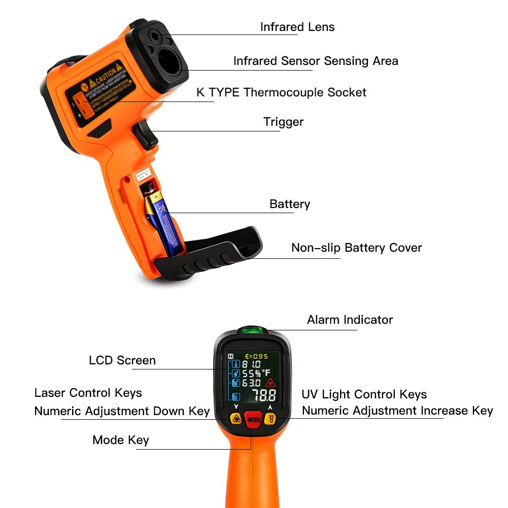 Digital Laser Infrared Thermometer,ZOTO Non Contact Temperature Gun Instant-read -58 ℉to 1472℉with LED Display K-Type Thermocouple for Kitchen Cooking BBQ Automotive and Industrial PM6530D Thermometer by ZOTO (Image #3)