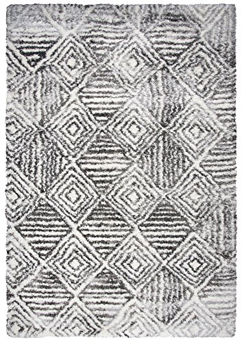 - Rizzy Home Adana Collection Polypropylene Charcoal/Ivory Geometric Area Rug 7'10