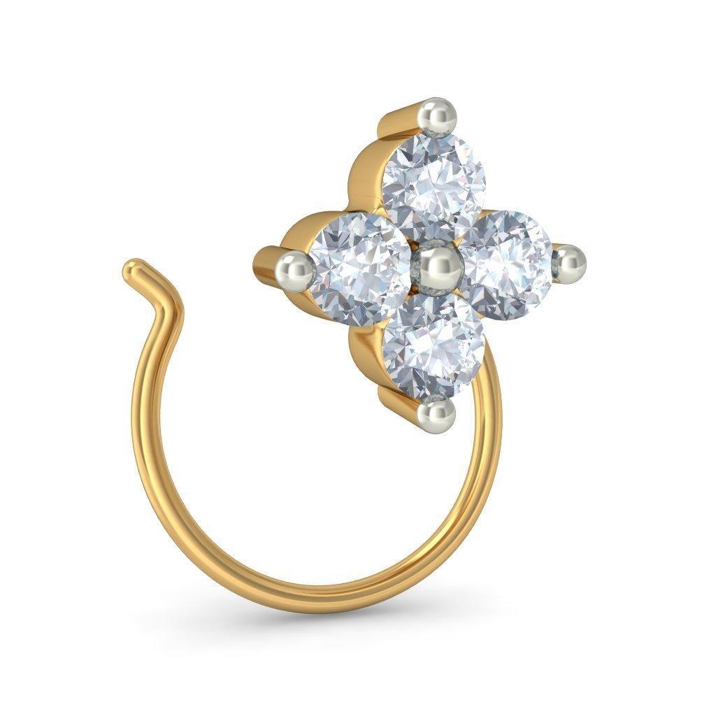 Bluestone Women S 14kt Yellow Gold And Diamond Arbutus Nose Pins