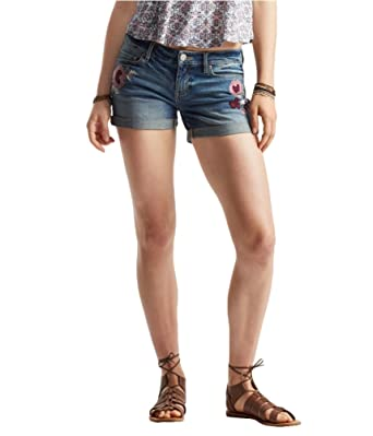 509b79dc4c Aeropostale Womens Embroidered Midi Casual Denim Shorts Blue 0 - Juniors