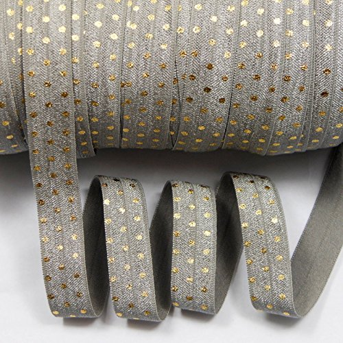 mdribbons Foil Gold Dot Elastic Ribbon FOE For Hair Tie Hair Band Headband Accessories 5/8 Inch 10 Yards Shell Grey Color