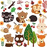 DEKOSH Kids Wild Safari Animal Wall Stickers for Nursery Decoration | Jungle Theme Peel & Stick Owl Woodland Nursery Wall Decals for Baby Playroom Decor