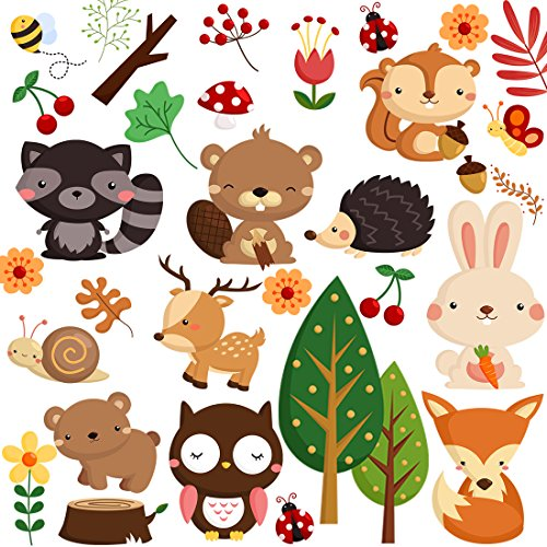 DEKOSH Kids Wild Safari Animal Wall Stickers for Nursery Decoration | Jungle Theme Peel & Stick Owl Woodland Nursery Wall Decals for Baby Playroom ()