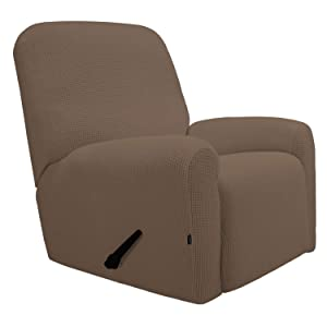 Easy-Going Recliner Stretch Sofa Slipcover Sofa Cover 4-Pieces Furniture Protector Couch Soft with Elastic Bottom Kids, Spandex Jacquard Fabric Small Checks(Recliner,Brown)