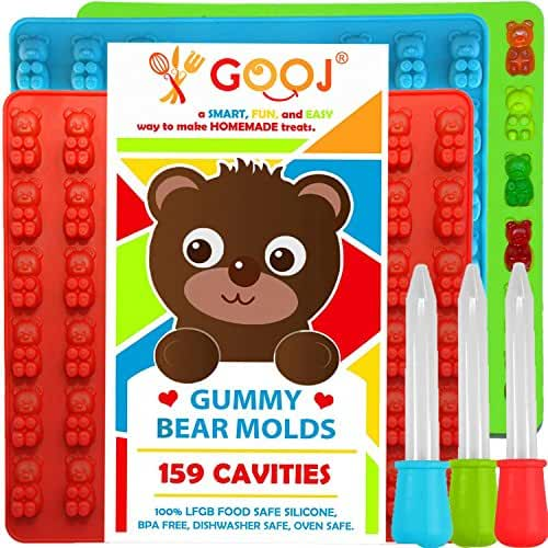 New Bigger Gummy Bear Molds Silicone 3 Pack + 3 Droppers – LFGB FDA Gummy Bears molds non BPA Candy Molds - Gummy candy size compared a Store-Bought Gummy Bear.