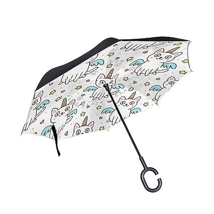 Orediy Paraguas invertido con diseño de Unicornio para Gatos, Doble Capa, Paraguas para el