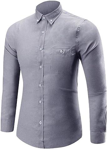 Camisas hombre Camisa de manga larga del hombre botón,YanHoo® Mens Casual manga larga camisa negocio Slim Fit Camisas de blusa Estilo otoñal fresco transpirable (Gris, 4XL): Amazon.es: Iluminación
