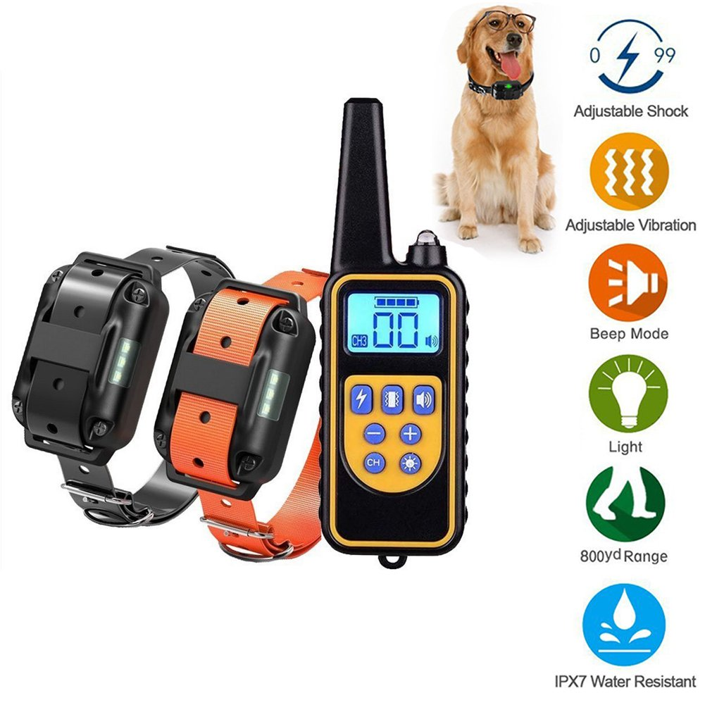Shock Collar for Dogs,Dog Training Collar 800 Yard Dog Shock Collar with Remote IPX7 100% Waterproof and Rechargeable for Dogs