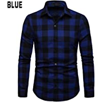 Edtara Camisa de Cuadros para los Hombres, Camisa de Manga Larga de Ocio de cuadrícula de Hombres