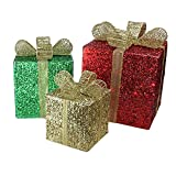 Northlight Set of 3 Lighted Glistening Prismatic Gift Box Christmas Outdoor Decoration