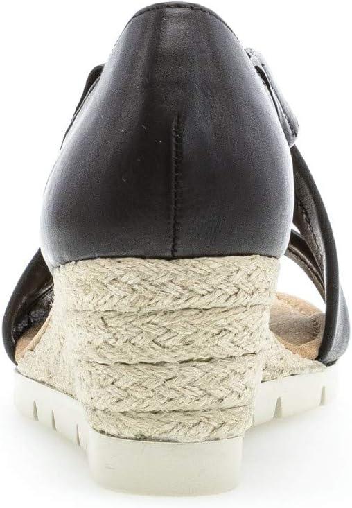 Gabor 22.853 Damessandalen, wighak sandalen, dames, wighak sandalen, wighakken, zomerschoen, plat, comfort meer Zwart jute