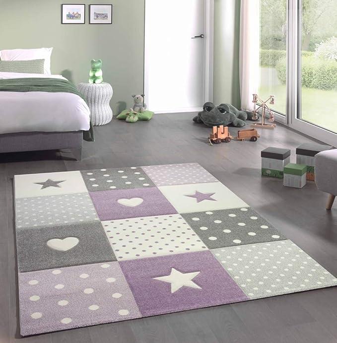 Kinderteppich Teppich Kinderzimmer Mit Stern Herz In Lila Grau Creme Grosse 80x150 Cm Amazon De Kuche Haushalt