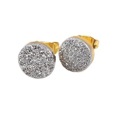 ad45b2b19 JAB 1 Pair 10mm Round Gold Plated Natural Agate Titanium Rainbow Druzy Post Stud  Earrings G1278
