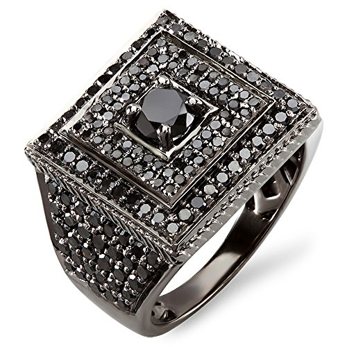 - Dazzlingrock Collection 2.80 Carat (ctw) Black Rhodium Plated 10K Round Black Diamond Mens Ring, White Gold, Size 11
