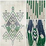 "BeadedString Natural Bamboo Wood Beaded Curtain-90 Strands-80 High-Boho Door Beads-Bohemian Doorway Curtain-35.5"" Wx80 H-Daussie"