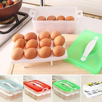 Caja de almacenamiento para huevos de plástico para nevera, contenedor de 15 huevos, huevo, huevo, organizador, huevo de almacenamiento verde: Amazon.es: ...