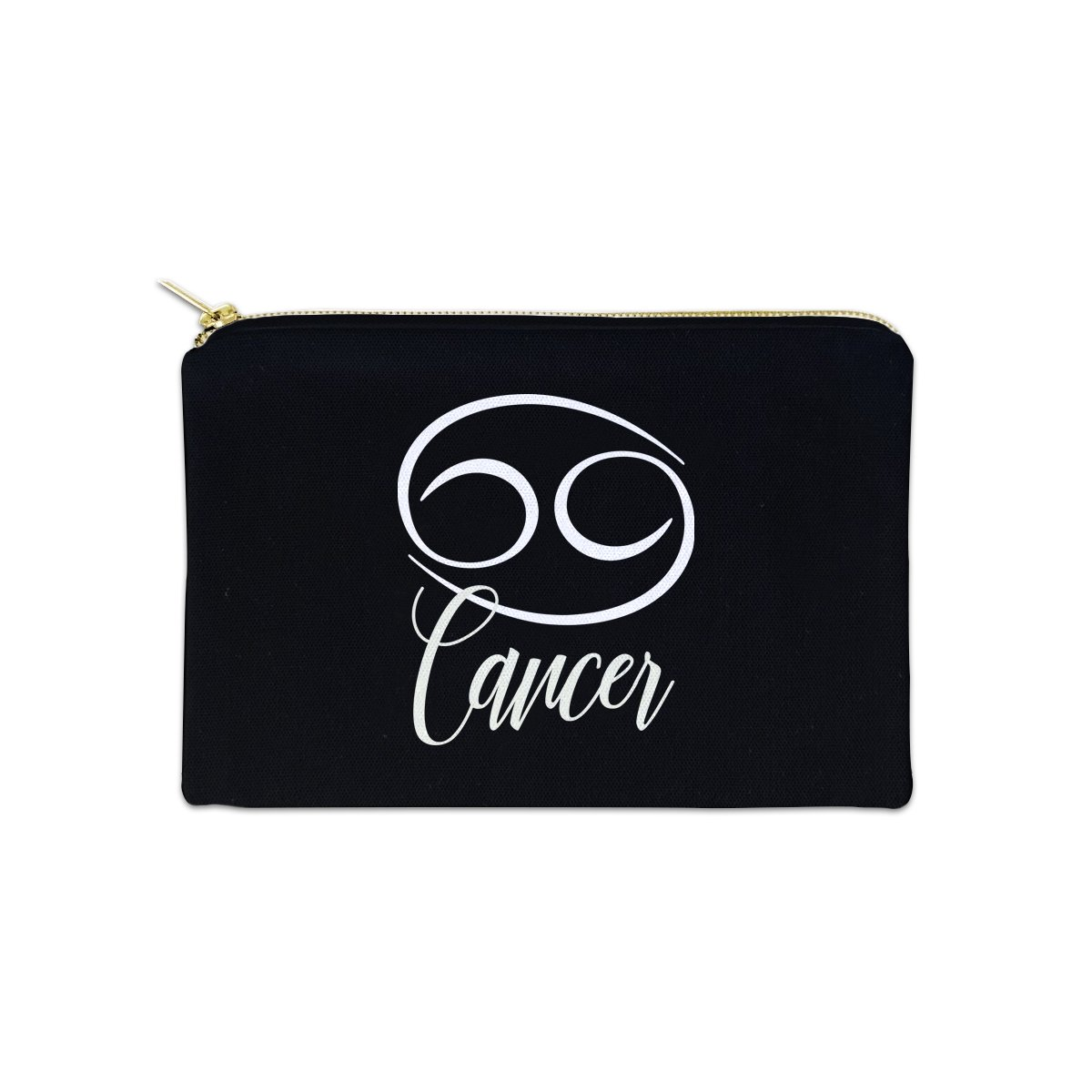 Cancer Zodiac Sign 12 oz Cosmetic Makeup Cotton Canvas Bag - (Black Canvas)
