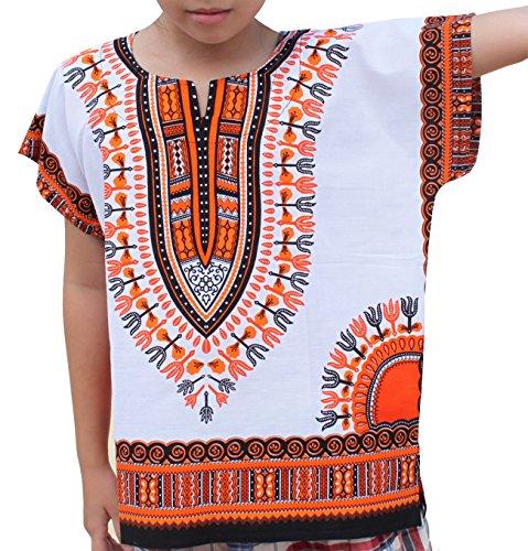 Raan Pah Muang RaanPahMuang Unisex Bright African White Children Dashiki Cotton Shirt, 10-12 Years, Orange On White by Raan Pah Muang