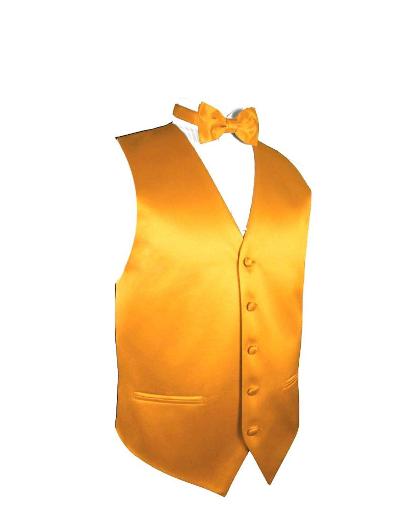 Exclusive Distributor Solid Vest Bow Tie-10-J-Rust Gold-M