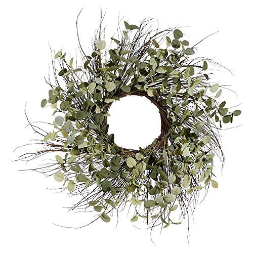 Spiral Twig Wreath - 25 Inch Artificial Eucalyptus Wreath on a Natural Twig Base