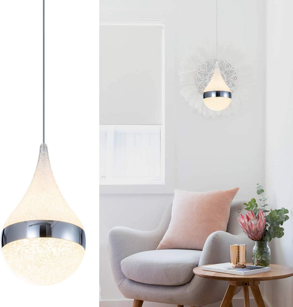 Modern Kitchen Island Pendant Lighting, Adjustable LED Drop Pendant Light with Silver Plating Nickel Finish Acrylic Shade for Dining Rooms 6W, Warm White 3000K