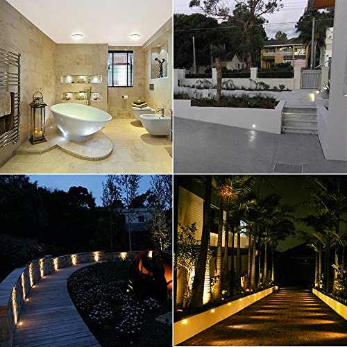 CHYING Low Voltage Warm White Kit, CroLED Stainless Steel Waterproof Recessed Wood Decking Stairs Garden Yard Patio Decor Lamp Outdoor LED Lighting, Pack of 10
