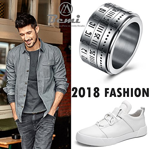 BEMI Elegant Rotatable Engraved Roman Numerals Band Ring Personality Cool Style Statement Rings for Mens 10 by BEMI (Image #5)