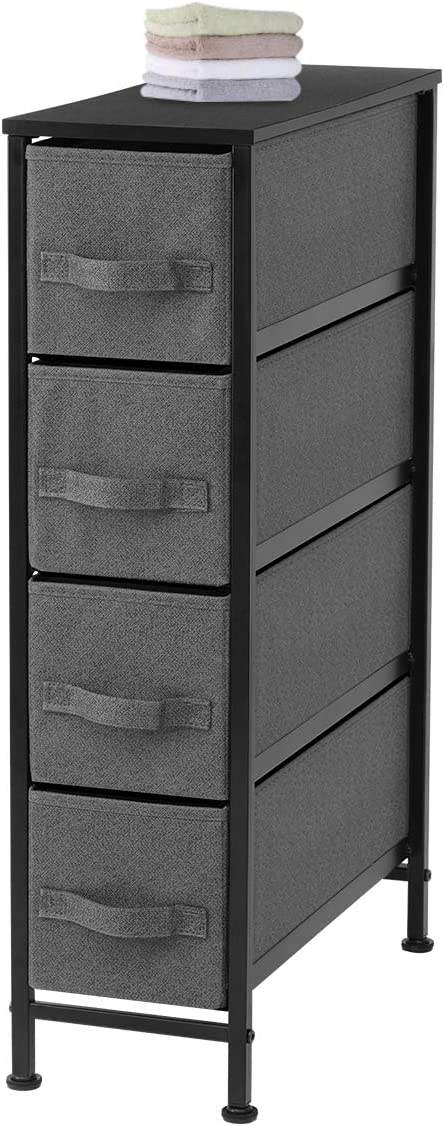KINGSO Narrow Dresser with 4 Fabric Drawers, Vertical Storage Tower Organizer Unit Sturdy Steel Frame & Easy Pull Faux Linen Fabric Drawers for Bedroom Bathroom Living Room Laundry Closets, Dark Gray
