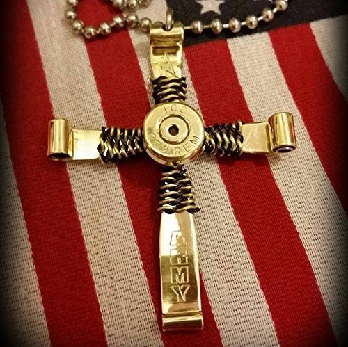 Military Patriotic .223 caliber / 5.56 mm Bullet Cross Necklace