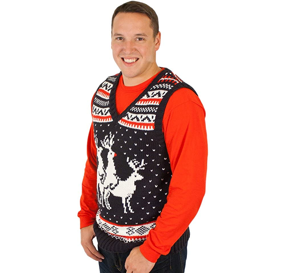 Reindeer Threesome Sweater Vest in Navy (Small) at Amazon Men\'s ...