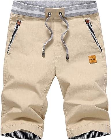Summer Men/'s Drawstring Casual Shorts Slim Fit Cotton Beach Holiday Half Pant