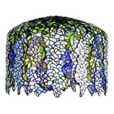 Bieye S10002 18 inch Wisteria Tiffany Style Stained Glass Lamp Shade