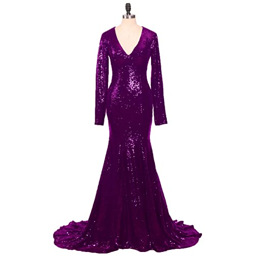 Stillluxury Sequin Evening Dresses Long Sleeves Front Split Wedding Party Mermaid Gown E122