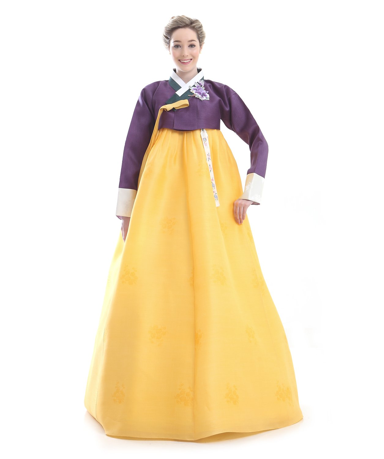 Handgemachter 100% Seide Kleid Hanbok Korea Lang Tracht Gelb Design Umbund Party Dress Kleid Elegant Fashion Mode Neu