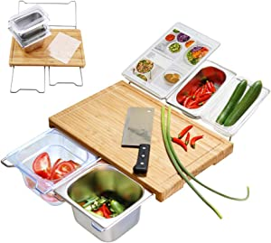 Durable Bamboo Cutting Board Set with 4 Container, Mats, Juice Groove for Kitchen, Wood Chopping for Meat Fruit Vegetables, Cheese Platter Service