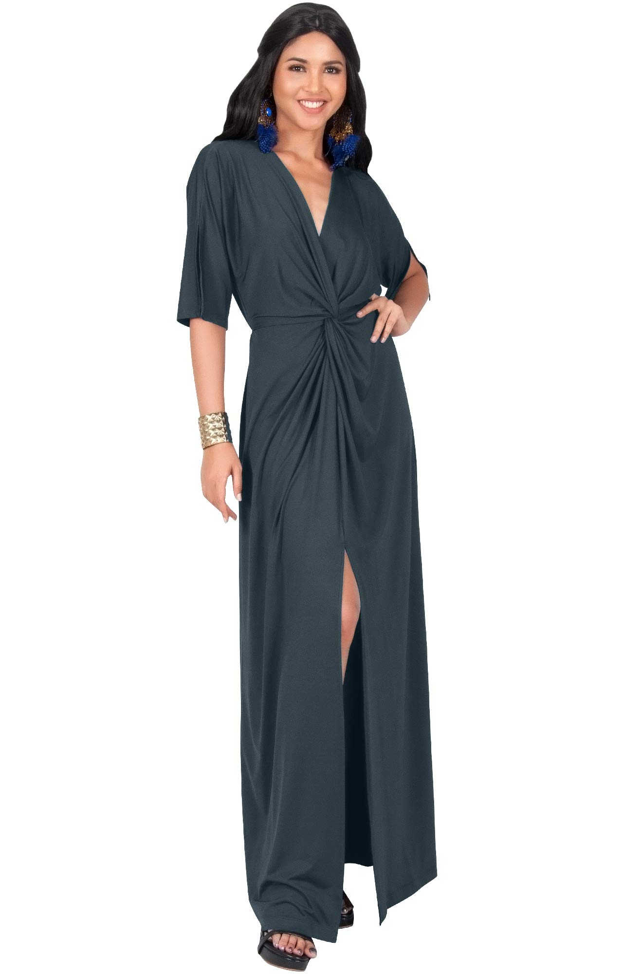 b538dea7ec KOH KOH Womens Long Sexy V-Neck Short Sleeve Cocktail Evening Bridesmaid  Wedding Party Slimming Casual Summer Maxi Dress Dresses Gown Gowns