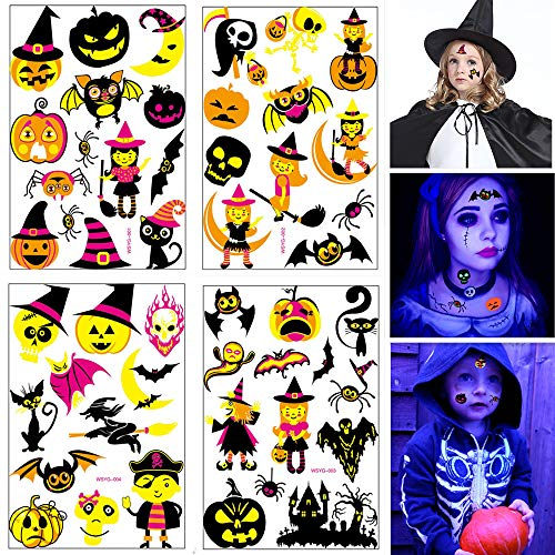[80% OOFF] 49PCS Glow in The Dark Halloween Temporary Tattoos, Transfers Trick or Treat Decoration Halloween Tattoos Sticker for Kids Party, Pumpkin Skull Ghost Spider Bat Witch Fun Tattoo Stickers for $<!--$9.99-->