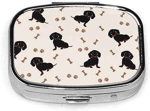 Perros Dachshund Perro Animales Personalizado Personalizado Caja de pastillas cuadrada Caja decorativa Contenedor de vitaminas Bolsillo o billetera: Amazon.es: Salud y cuidado personal