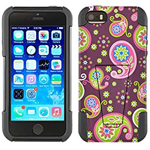 Apple iPhone 5 Hybrid Case Cute Paisley on Plum 2 Piece Style Silicone Case Cover with Stand for Apple iPhone 5 and 5S