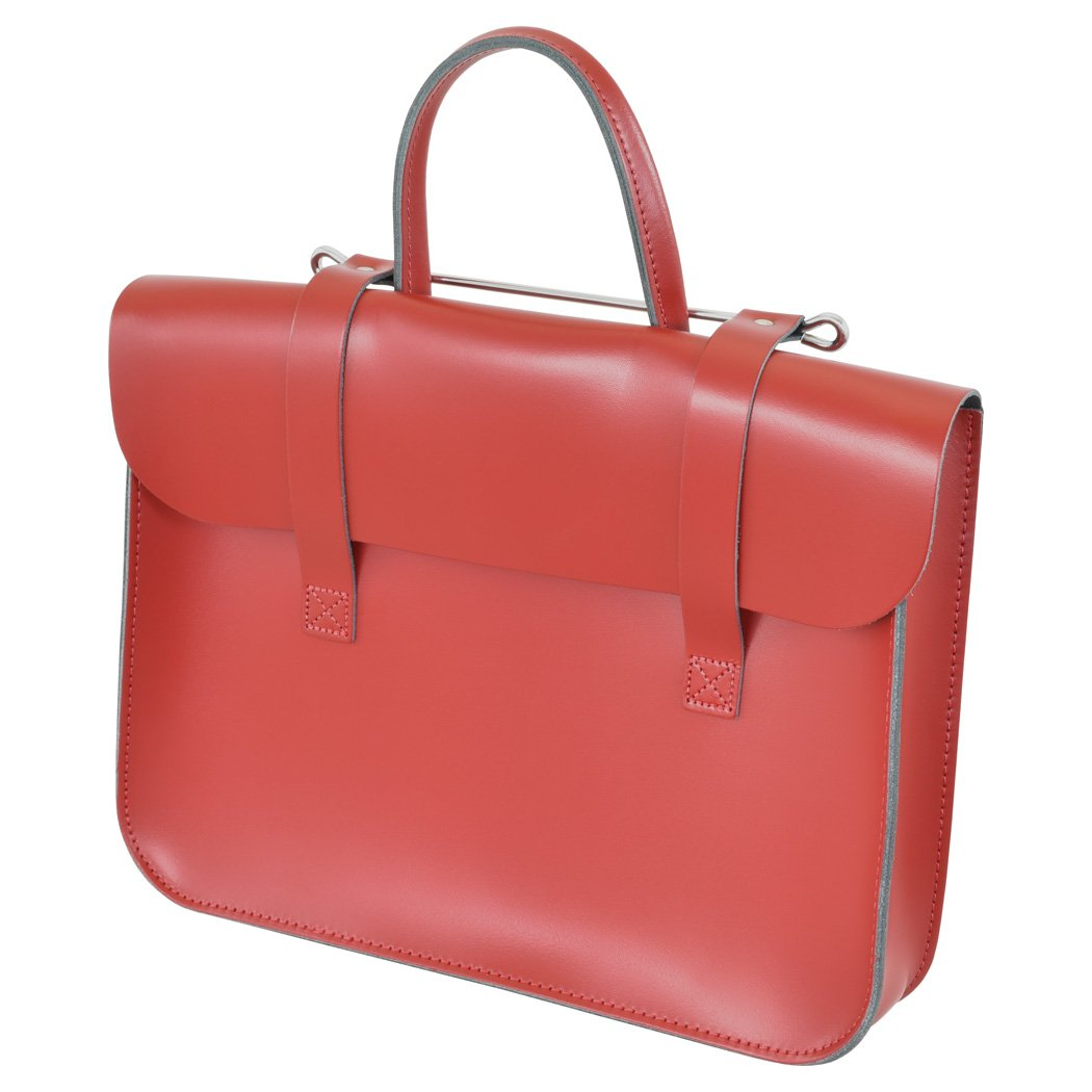 Oxford Traditional Leather MC1-R Traditional Classic Leather Music Case, Red