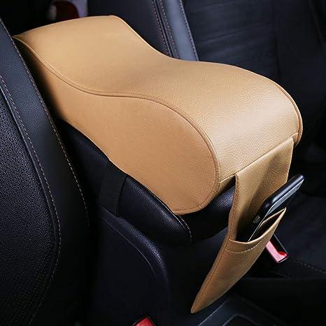 Center Console Armrest Pad Memory Foam Pu Leather Storage Pockets Seat Cushion