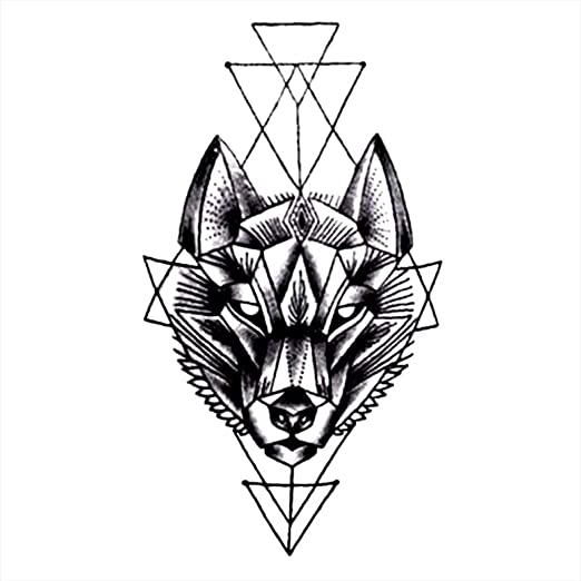 Tatuajes temporales con diseño de lobo geométrico para hombre y ...