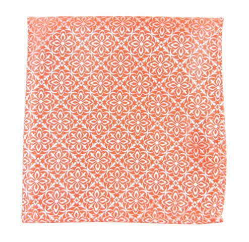 The Tie Bar 100% Woven Silk Coral Opulent Geometric Patterned Pocket - Square Coral