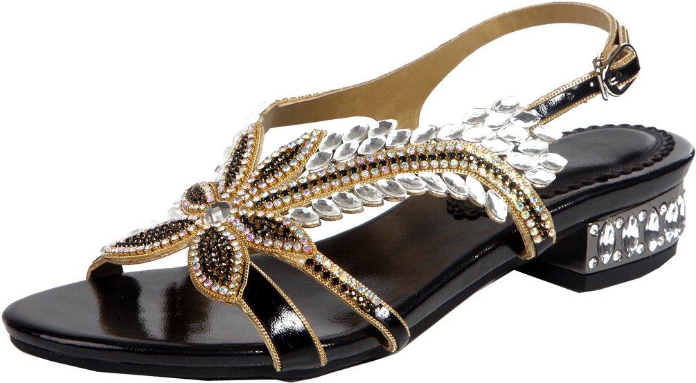 Abby ZXL005 Womens Comfort Wedding Bride Bridesmaid Party Prom Ankle Strap Flat Block Heel PU Sandals B07464SDMV 5 B(M) US|Black