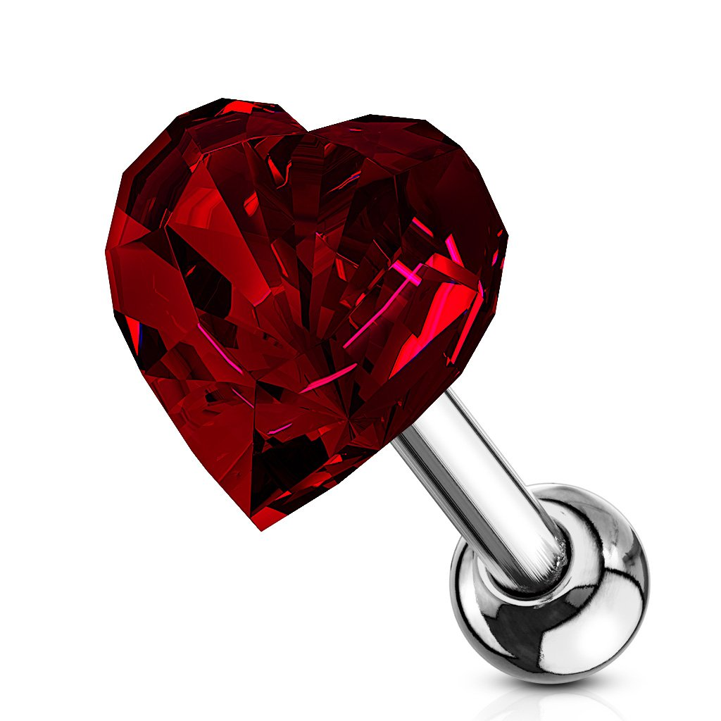 -16 Gauge 1/4 Inch Heart Crystal Top 316L Surgical Steel Cartilage, Tragus Barbell Studs A156 8unknown