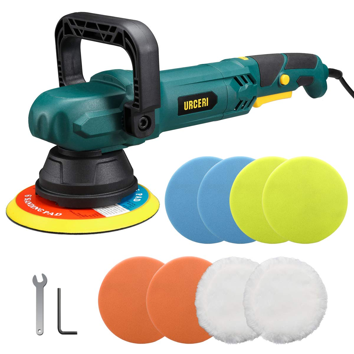 URCERI Random Orbital Polisher 9A 1100W 6000 RPM Dual Action Car Buffer Sander Waxer with Adjustable D-Handle, Powerful Motor with Variable Speeds Includes 6 Foam Pads and 2 Wool Bonnets