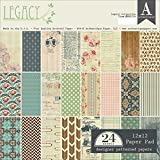"""Authentique Paper Double-Sided Legacy Paper Pad (24 Pack), 12 X 12"""""""