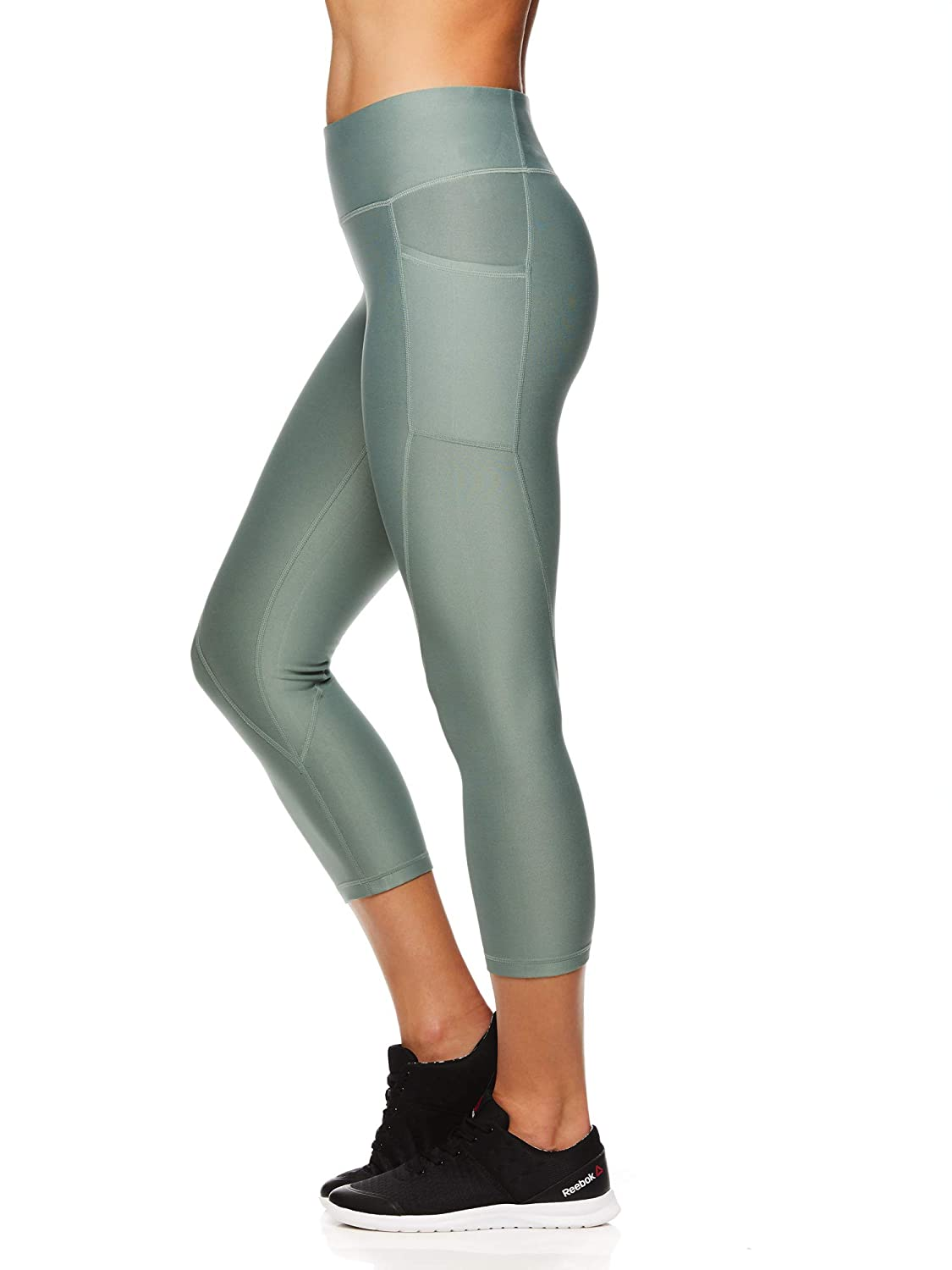 Reebok Womens Printed Capri Leggings with Mid-Rise Waist Cropped Performance Compression Tights - Chinois Green, Large